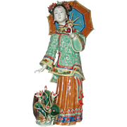 "11.75"" Ceramic Asian Lady With Parasol Figurine"
