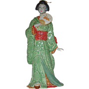 "12.50"" Ceramic Figurine Asian Lady With Fan"