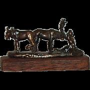 "Miniature Bronze Sculpture On Wood Base Circa 1983 1 5/8""  X 1"" - Red Tag Sale Item"