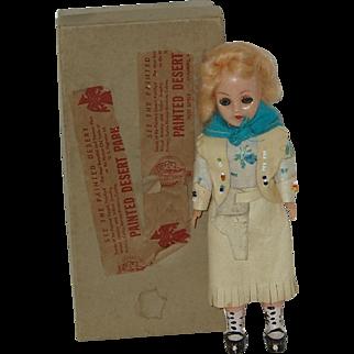 "Vintage 7"" Souvenir Cowgirl  Doll In Original Box  Circa 1950"
