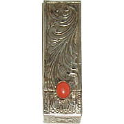 Vintage Italian 800 Engraved Lipstick Case With Coral Stone