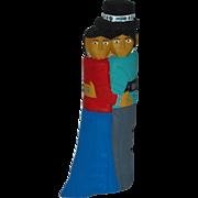"12"" Navajo Folk Art Hand Carved Dancing Couple"