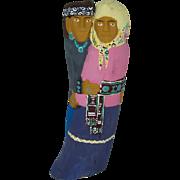 "10"" Navajo Folk Art Hand Carved Dancing Couple"
