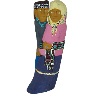 "10"" Navajo Folk Art Hand Carved Dancing Couple"