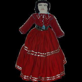 "Vintage 21"" Tall Navajo Handmade Cloth Doll circa 1965"