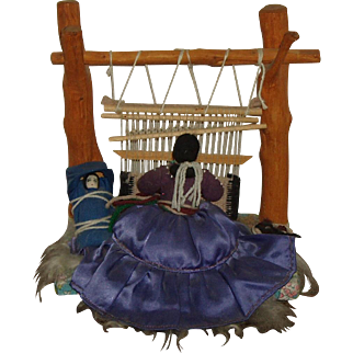 Vintage Navajo Indian Hand Made Rug Weaver Doll