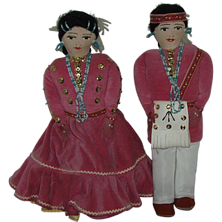 """Vintage Navajo Indian Hand Made Traditional Man And Woman  Cloth Dolls 13 1/2"""" Tall"""