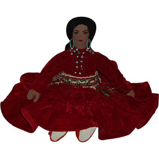 Vintage Navajo Handmade Cloth Doll. Circa 1965
