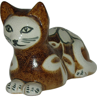 Vintage Ceramic Cat  Hand Made In Italy