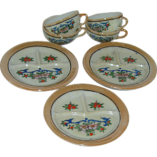 Vintage Toy Luster Ware Doll Dishes Ceramic Made In Japan