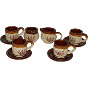 Vintage 10 Piece  Toy Doll Size Tea Set Pottery