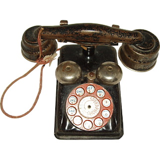 Vintage Metal Toy Rotory Dial Telephone    Circa 1940's/1950's