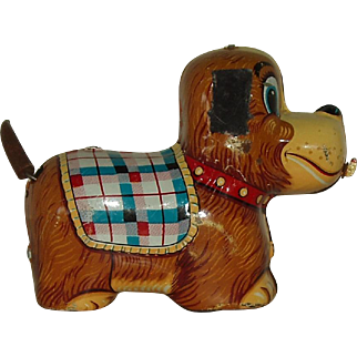 Vintage Tin Working Toy Wind Up Dog Made In Japan