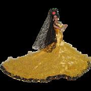 "Vintage Spanish Flamenco Dancer Doll 12"" Tall"