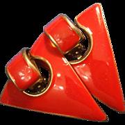 VINTAGE Red Enamel Triangle clip on Earrings in gold tone