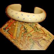 VINTAGE Ivory Celluloid cuff bracelet with rhinestones