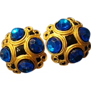 VINTAGE Etruscan inspired pierced earrings in gold tone with sapphire lucite cabochons