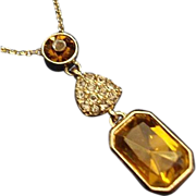 VINTAGE Amber Rhinestones pendant with tiny rhinestone heart necklace in gold tone