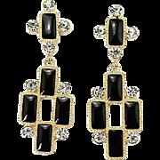 VINTAGE Gold tone black Enamel Cross Dangle pierced Earrings with rhinestones