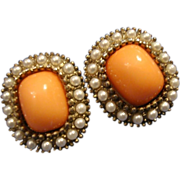 VINTAGE Victorian inspired Coral glass post earrings with tiny faux pearls in gold tone