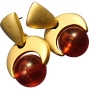 VINTAGE BRUSHED gold tone Dangle post Earrings with red Jelly belly