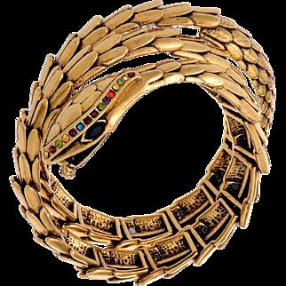 VINTAGE Wrap Gold tone Scaled Snake Cuff Bracelet