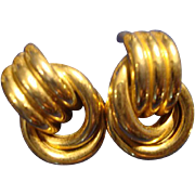 VINTAGE CHIC gold tone rope clip on earrings