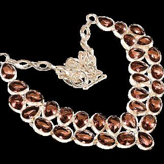 VINTAGE genuine pink amethyst bib necklace in 925 sterling silver base