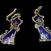 VINTAGE cloisonne blue enamel art KITTEN charm dangle earrings in gold tone