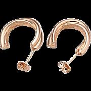 VINTAGE 18k ROSE Gold plated hoop stud earrings