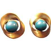 VINTAGE BRUSHED post earrings gold tone with turquoise lucite bead in center