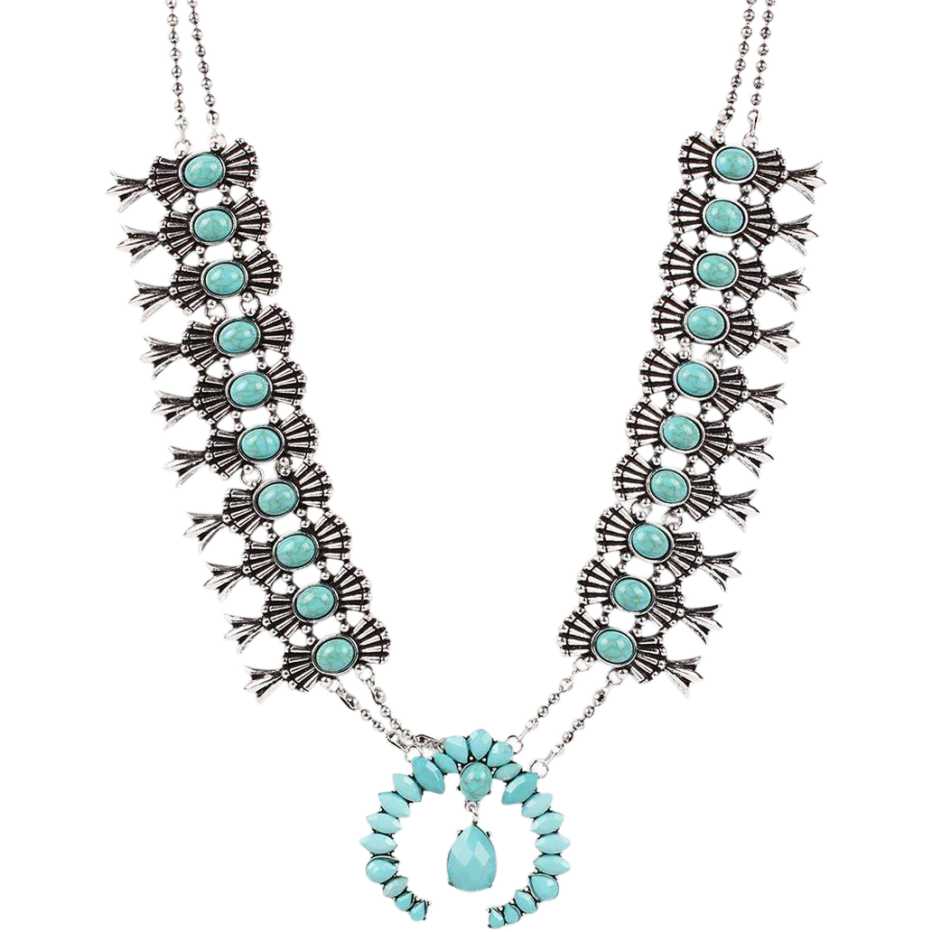 vintage silver tone faux turquoise squash blossom necklace