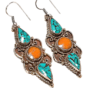 VINTAGE Sterling silver 925 turquoise and coral dangle earrings