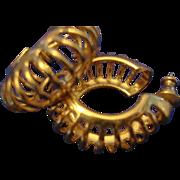 VINTAGE Gold tone hoop post earrings, with open detail