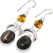 VINTAGE Sterling silver Earrings  Labdradorite oval shaped briolette, and pear shaped citrine gemstones