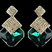 VINTAGE Large square Emerald rhinestone stud earrings with pave rhinestones
