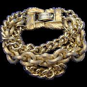 VINTAGE LISNER Estate Bracelet 3 strand linked chain 1960'S