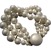 VINTAGE 3 Strand 8mm hand knotted faux pearl bracelet