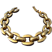 VINTAGE 10 Open rectangle links gold tone bracelet