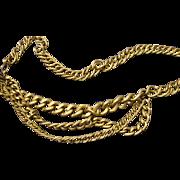 VINTAGE Draped Brushed gold tone linked necklace/ belt