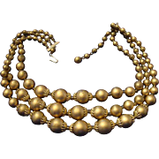 VINTAGE Bronzed triple strand 60's bead necklace