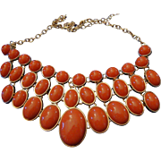 VINTAGE Egyptian inspired collar in deep orange lucite 3 rows in gold tone linked chain