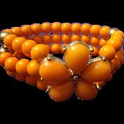 VINTAGE 3 Strand bracelet in coral lucite with rhinestones