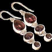VINTAGE Amethyst gemstone sterling silver dangle earrings with ear wires.