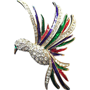 """VINTAGE large 3 1/2"""" bird of paradise pin brooch in gold tone with red, blue and green enamel"""