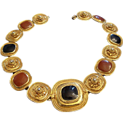 VINTAGE Heavy Etruscan inspired choker with raised designs, and black and russet enamel
