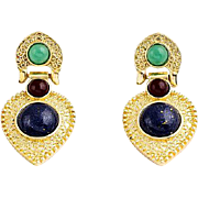 VINTAGE Cleopatra style Dangle Gold Tone post earrings with faux gem stone cabochons