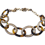 VINTAGE Chunky tortoise shell link with rhinestone gold tone links on chain
