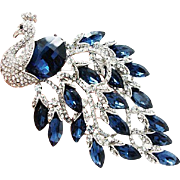 VINTAGE HUGE beautiful peacock pin/brooch with sapphire rhinestones