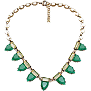 VINTAGE Art Deco Emerald Green Glass Necklace in brass